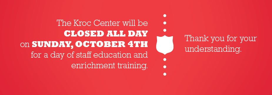 The Center will be CLOSED ALL DAY, Sunday October 4th for Staff Training